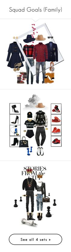 """Squad Goals (Family)"" by foreverfreshie ❤ liked on Polyvore featuring Chicwish, Balmain, Dsquared2, Ralph Lauren, Timberland, Dolce&Gabbana, Linda Farrow, Ray-Ban, Master & Dynamic and Rosin"