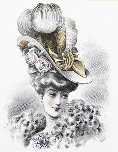 The Sum Of All Crafts: image collection-women (hats) Victorian Hats, Victorian Women, Vintage Children Photos, Vintage Images, Mode Masculine, Vintage Beauty, Vintage Fashion, Decorative Hair Combs, Victorian Paintings