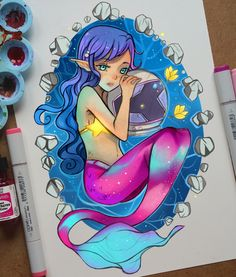 +A Mermaid and an Astronaut+ by larienne on DeviantArt