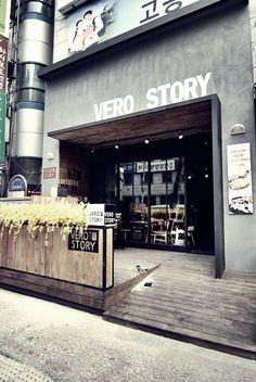 Vero story exterior design by mercim shop facade, retail facade, cafe exterior, cafe Café Exterior, Exterior Design, Bungalow Exterior, Exterior Signage, Cottage Exterior, Shop Front Design, Store Design, Shop Facade, Café Bar