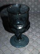 Indiana Colony Kings Crown Thumbprint Blue Wine Glasses