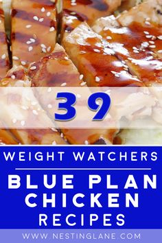 39 Weight Watchers Blue Plan Chicken Recipes including Kabobs, Barbecue, Chicken Noodle Soup, Spicy Pasta, Fried Rice, Teriyaki, Jalapeno, Stir-Fry, Taco Salad, Sesame Chicken, and more! Chicken Kabob Recipes, Chicken Teriyaki Recipe, Chicken Kabobs, Corn Recipes, Barbecue Chicken, Low Calorie Dinners, Low Calorie Recipes, Healthy Dinner Recipes, Pineapple Chicken