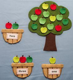 Apple cuenta cestas fieltro árbol de cinco por FeltBoardMagic