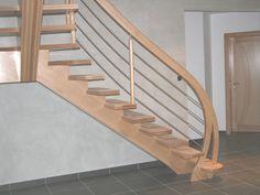 escalier bois sans contre marches, limon central lamellé-collé