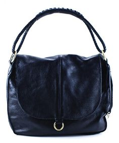 Look at this #zulilyfind! Black & Gold Allie Leather Shoulder Bag by Henri Lou #zulilyfinds