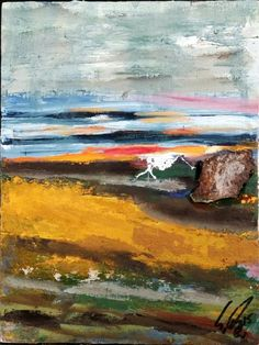 Landschaft ohne Namen Öl auf Holz ( Originalbild) 18,5 x 24 cm incl. Eisenrahmen | KunstiX