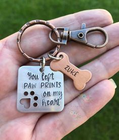 You left paw prints on my heart ~ Square Hand Stamped Pet Memorial ~ Mixed Metal Keychain ~ If loved could have saved you ~ Remembrance - recpices Dog Mom Gifts, Pet Gifts, Gifts For Mom, Dog Memorial, Memorial Gifts, Dog Shadow Box, Dog Jewelry, Cowgirl Jewelry, Geek Jewelry