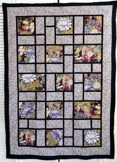Oriental Garden Couch Throw/Wall Hanging by Quiltsbysuewaldrep, $120.00 Would be a good design for family photos.