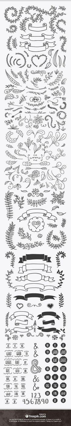 Hand Drawn Ribbons, Frames and Laurels | Design Share