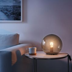 "FADO Table lamp with LED bulb, gray, Height: 9"" Diameter: 10"" - IKEA Mood Light, Light Bulb, Ikea Glass Table, Ikea Fado, Palm Springs Houses, Mood Lamps, Grey Table Lamps, Antique Lamps, Room Planning"