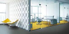 Interface│Laattapiste #toimisto #tekstiililaatta #office #interface #carpet #keltainen #modern Waiting Area, Contemporary, Modern, Entrance, Minimalist, Loft, Lounge, Flooring, Architecture