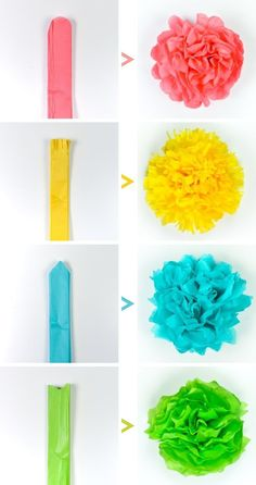 Crafts Tissue paper flowers make a gorgeous event decor with a big impact—think weddings, baby showers, bridal showers and more! Learn how to make easy tissue paper flowers, as well as different methods for cutting the petals to create four unique styles. Tissue Paper Crafts, Paper Flowers Craft, Flower Crafts, Diy Flowers, Tissue Paper Decorations, Tissue Paper Pom Poms Diy, Tissue Paper Flowers Easy, Paper Paper, Diy Crafts With Paper