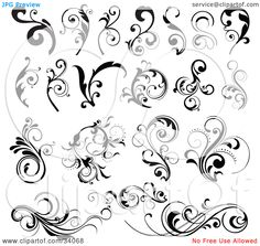 Clipart-Illustration-Of-A-Black-And-White-Set-Of-Bold-Black-And-Elegant-Scrolls-And-Vines-102434068.jpg (1080×1024)