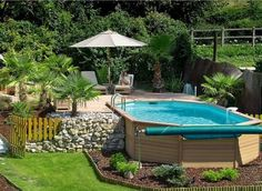 above ground pools with modern wooden deck and small garden