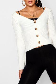 Wide Rib Knit Button Up Cardigan | Boohoo