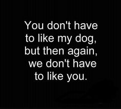 You don't have to like my dog, but…