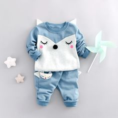 11.99$  Buy here - http://alil4d.shopchina.info/go.php?t=32789763085 - 2017 Spring Baby Boys Clothes Sets Cartoon Fox Kids Clothes Cotton Suits For Children Costume Girls Long t shirt+Pants Vestidos 11.99$ #buyonlinewebsite