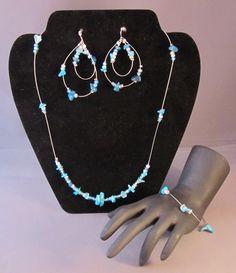 Ocean Blue Chipped Beads Jewelry Set - www.etsy.com/shop/BHawkDesigns