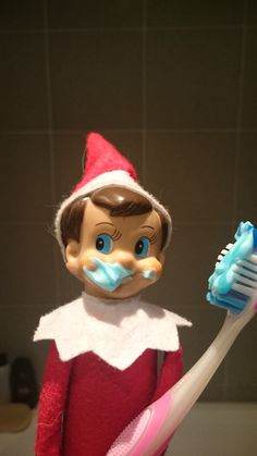 He's found a toothbrush...