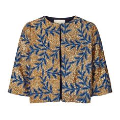Lollys Laundry Trine Jacket, a cropped gold bolero jacket covered in metallic gold sequins and a blue leaf embroidered print. This gold short sleeved Lala Berlin, Party Jackets, Daytime Outfit, Gold Shorts, Bolero Jacket, Stripes Fashion, Gold Sequins, T Shirt And Jeans, Fashion Beauty