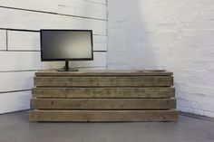 Reclaimed Scaffolding Board Long Low Media Unit or by inspiritdeco