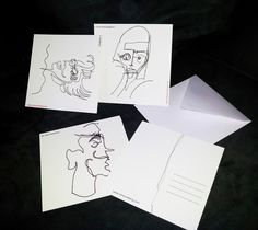 FACES, series of postcards. Hand drawn illustrations, size 14x14cm.