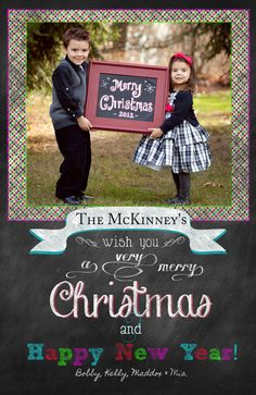 Chalkboard Christmas Card front & Back holiday by KDesignsonetsy, $12.00