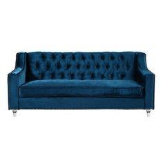 Chic Home Berry Velvet Round Acrylic Feet Sofa, Blue