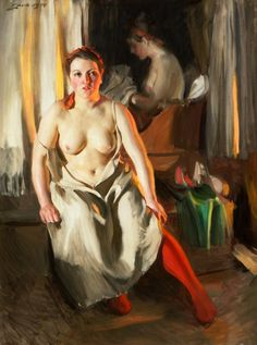 red stocking by Anders Zorn