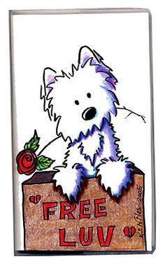 2005 Functional Art by Kim Niles, (Illustrator of Westie The Dog). Cartoon Dog, Cartoon Pics, Cartoon Drawings, Cool Drawings, Dog Artist, Painted Rocks Kids, West Highland Terrier, Bird Cards, Sketch Painting