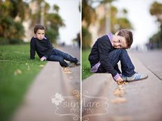 Love this curbside photo!  Great idea. Adorable kid!