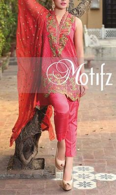 Buy Carrot Pink Embroidered Crinkle Chiffon Dress by Motifz 2016
