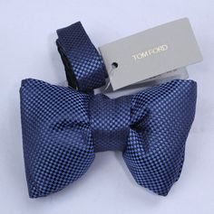NWT! Authentic TOM FORD 100% SIlk Blue & Black Check Bow Tie TFBT15 #TomFord #BowTie