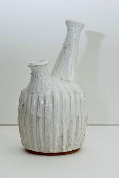 Vintage Ikebana Pottery Vase White Glaze Textured 2 Spout Stem Mid Century