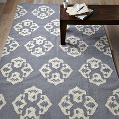 Mixing and matching: not for the faint of heart. Ease in with a patterned rug to liven up a living room.