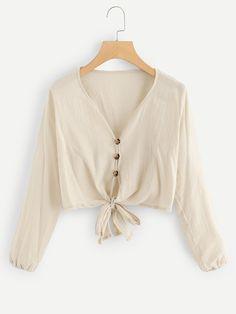d279a576c49 Single Breasted Knot Hem BlouseFor Women-romwe Romwe