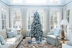christmas tree with blue decorations blue and silver christmas decorating ideas blue christmas theme blue glass christmas ornaments blue themed christmas tree Flocked Artificial Christmas Trees, Blue Christmas Tree Decorations, Flocked Christmas Trees Decorated, Silver Christmas Tree, Christmas Home, Holiday Decor, Christmas Ornaments, Christmas Stuff, Christmas 2019