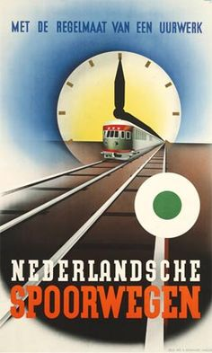 Artdeco Trademark Global Vintage Apple Collection 'Artdeco Railroad Netherlands' Canvas Art - 47 x 30 x 2 Vintage Advertising Posters, Old Advertisements, Vintage Travel Posters, Vintage Ads, Train Posters, Railway Posters, Radios, Artist Canvas, Canvas Art