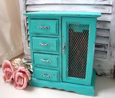 Aqua Vintage Jewelry Box, Beach Cottage Turquoise Painted Jewelry Holder, Music Box, Cottage Chic