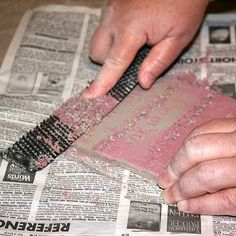 A Surform tool blade being used to uncover a mishima design.