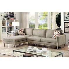 Furniture of America Kamen Ii Chenille Fabric Sectional in Pewter