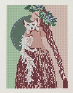 0 point de croix femme et chat - cross stitch lady with cat