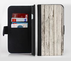The White Painted Aged Wood Planks Ink-Fuzed Leather Folding Wallet Credit-Card Case for the Apple iPhone 6/6s, 6/6s Plus, 5/5s and 5c from DesignSkinz
