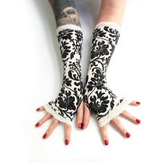 Victorian black and white damask fingerless gloves with white lace Arm... ($27) ❤ liked on Polyvore featuring accessories, gloves, steampunk fingerless gloves, goth gloves, gothic gloves, fingerless bridal gloves and white bridal gloves