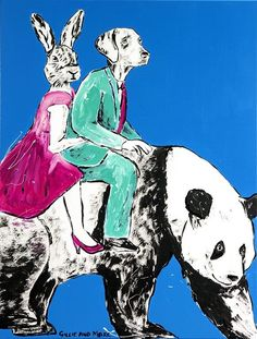 GILLIE AND MARC  Soft and Slow Ride  Original Mixed Media on Canvas 120cm x 90cm