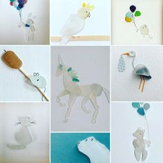 White seaglass animals. My other fav thing to create! #seaglassartist #seaglass #seaglassart #whiteseaglass #seaglassanimals #yousawitherefirst