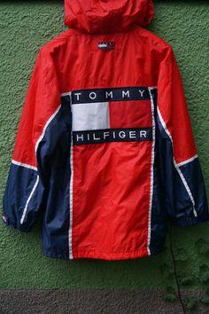 Vintage Tommy Hilfiger Rare Mens Jacket Red Navy White Size - M
