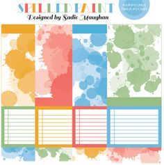 Free Printable Journal Cards: Spilled Paint theme (by Sadie Maughan)