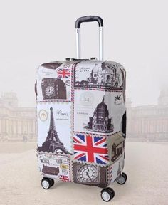 Cute Tiled Coffee Print Luggage Protector Travel Luggage Cover Trolley Case Protective Cover Fits 18-32 Inch