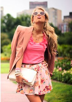 Pink floral skirt, pink tee, nude blazer. I could wear this all the time, minus the blazer.